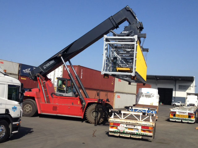 Loading containter onto truck